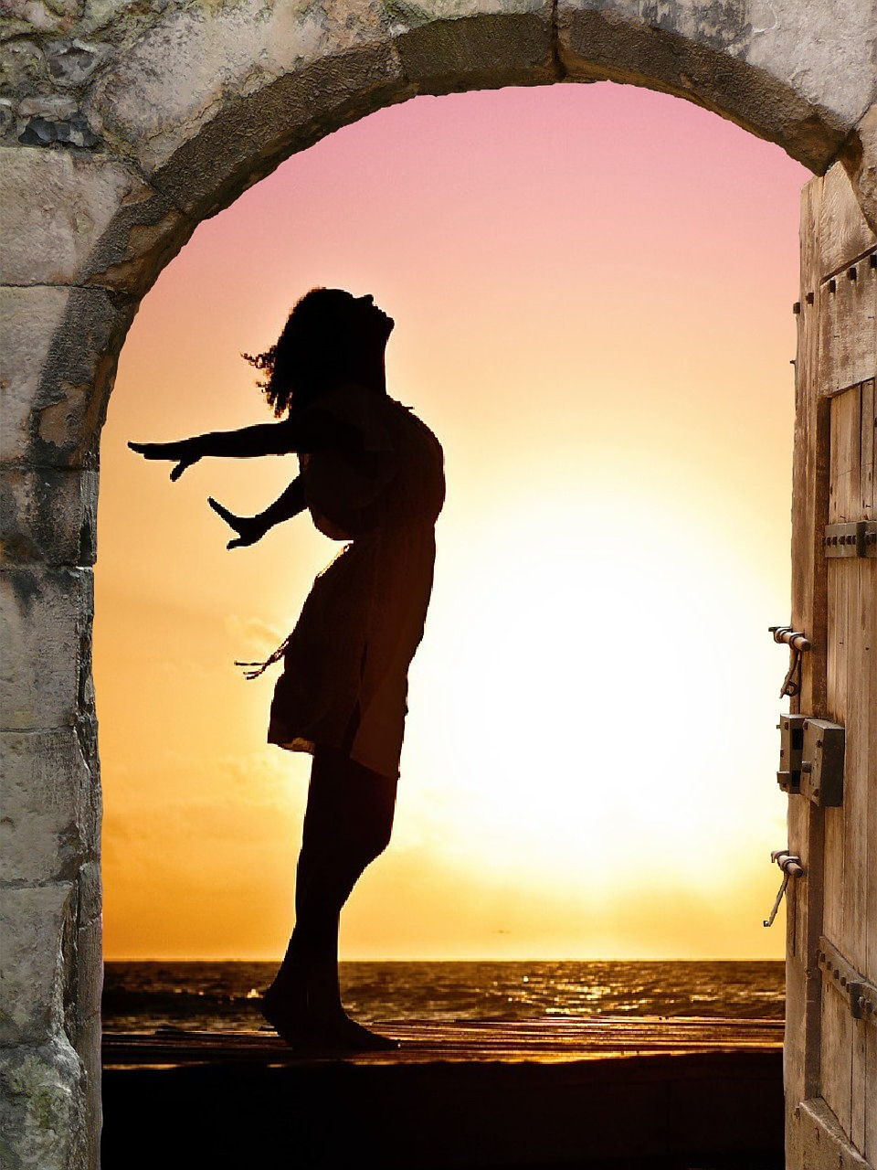 goal-shadow girl in sunset doorway