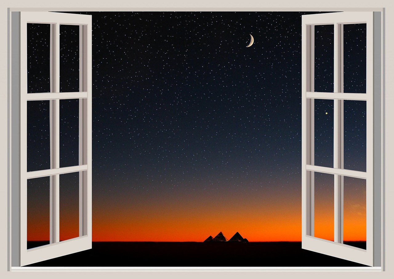 WindowNightSkySunriseDanwPyramids0